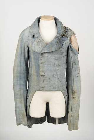 Uniform coat of injured militia member John Miner, who fought at the Battle of Stonington.
